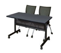 "48"" x 24"" Flip Top Mobile Training Table with Modesty Panel - Grey and 2 Apprentice Nesting Chairs"