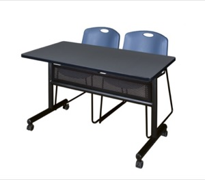 "48"" x 24"" Flip Top Mobile Training Table with Modesty Panel - Grey and 2 Zeng Stack Chairs - Blue"