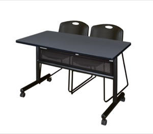 "48"" x 24"" Flip Top Mobile Training Table with Modesty Panel - Grey and 2 Zeng Stack Chairs - Black"
