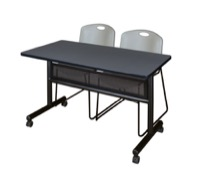 "48"" x 24"" Flip Top Mobile Training Table with Modesty Panel - Grey and 2 Zeng Stack Chairs - Grey"