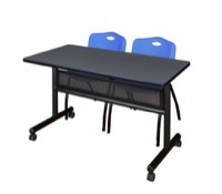 "48"" x 24"" Flip Top Mobile Training Table with Modesty Panel - Grey and 2 ""M"" Stack Chairs - Blue"