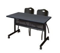 "48"" x 24"" Flip Top Mobile Training Table with Modesty Panel - Grey and 2 ""M"" Stack Chairs - Black"
