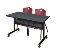 "48"" x 24"" Flip Top Mobile Training Table with Modesty Panel - Grey and 2 ""M"" Stack Chairs - Burgundy"