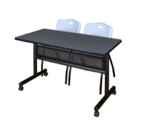 "48"" x 24"" Flip Top Mobile Training Table with Modesty Panel - Grey and 2 ""M"" Stack Chairs - Grey"