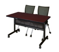 "48"" x 24"" Flip Top Mobile Training Table with Modesty Panel - Mahogany and 2 Apprentice Nesting Chairs"