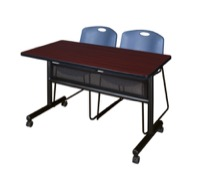 "48"" x 24"" Flip Top Mobile Training Table with Modesty Panel - Mahogany and 2 Zeng Stack Chairs - Blue"