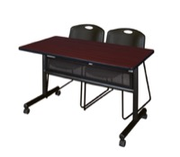 "48"" x 24"" Flip Top Mobile Training Table with Modesty Panel - Mahogany and 2 Zeng Stack Chairs - Black"