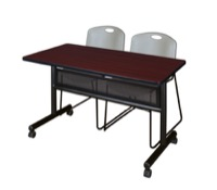 "48"" x 24"" Flip Top Mobile Training Table with Modesty Panel - Mahogany and 2 Zeng Stack Chairs - Grey"