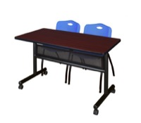 "48"" x 24"" Flip Top Mobile Training Table with Modesty Panel - Mahogany and 2 ""M"" Stack Chairs - Blue"