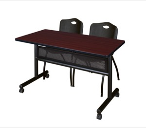 "48"" x 24"" Flip Top Mobile Training Table with Modesty Panel - Mahogany and 2 ""M"" Stack Chairs - Black"
