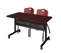 "48"" x 24"" Flip Top Mobile Training Table with Modesty Panel - Mahogany and 2 ""M"" Stack Chairs - Burgundy"
