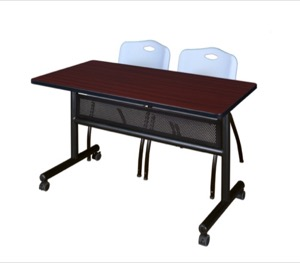 "48"" x 24"" Flip Top Mobile Training Table with Modesty Panel - Mahogany and 2 ""M"" Stack Chairs - Grey"