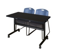"48"" x 24"" Flip Top Mobile Training Table with Modesty Panel - Mocha Walnut and 2 Zeng Stack Chairs - Blue"