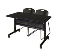 "48"" x 24"" Flip Top Mobile Training Table with Modesty Panel - Mocha Walnut and 2 Zeng Stack Chairs - Black"