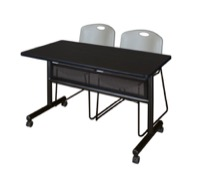 "48"" x 24"" Flip Top Mobile Training Table with Modesty Panel - Mocha Walnut and 2 Zeng Stack Chairs - Grey"