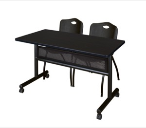 "48"" x 24"" Flip Top Mobile Training Table with Modesty Panel - Mocha Walnut and 2 ""M"" Stack Chairs - Black"