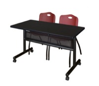"48"" x 24"" Flip Top Mobile Training Table with Modesty Panel - Mocha Walnut and 2 ""M"" Stack Chairs - Burgundy"