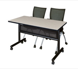"48"" x 24"" Flip Top Mobile Training Table with Modesty Panel - Maple and 2 Apprentice Nesting Chairs"