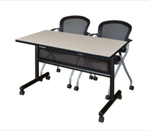 "48"" x 24"" Flip Top Mobile Training Table with Modesty Panel - Maple and 2 Cadence Nesting Chairs"