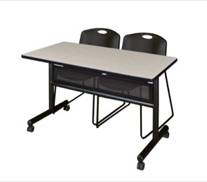 "48"" x 24"" Flip Top Mobile Training Table with Modesty Panel - Maple and 2 Zeng Stack Chairs - Black"