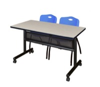 "48"" x 24"" Flip Top Mobile Training Table with Modesty Panel - Maple and 2 ""M"" Stack Chairs - Blue"