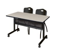 "48"" x 24"" Flip Top Mobile Training Table with Modesty Panel - Maple and 2 ""M"" Stack Chairs - Black"