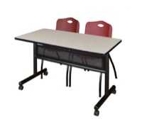 "48"" x 24"" Flip Top Mobile Training Table with Modesty Panel - Maple and 2 ""M"" Stack Chairs - Burgundy"