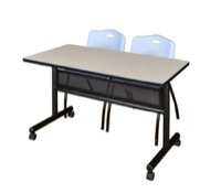 "48"" x 24"" Flip Top Mobile Training Table with Modesty Panel - Maple and 2 ""M"" Stack Chairs - Grey"