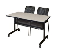"48"" x 24"" Flip Top Mobile Training Table with Modesty Panel and 2 Mario Stack Chairs"