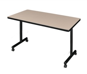 "42"" x 30"" Kobe T-Base Mobile Training Table - Beige"