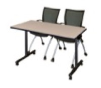 "48"" x 24"" Kobe T-Base Mobile Training Table - Beige & 2 Apprentice Chairs - Black"