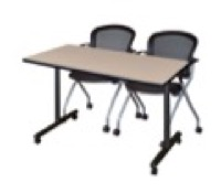 "48"" x 24"" Kobe T-Base Mobile Training Table - Beige & 2 Cadence Chairs - Black"