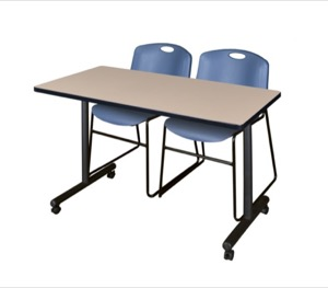 "48"" x 24"" Kobe T-Base Mobile Training Table - Beige & 2 Zeng Stack Chairs - Blue"