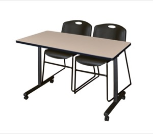 "48"" x 24"" Kobe T-Base Mobile Training Table - Beige & 2 Zeng Stack Chairs - Black"