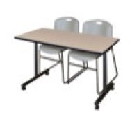 "48"" x 24"" Kobe T-Base Mobile Training Table - Beige & 2 Zeng Stack Chairs - Grey"