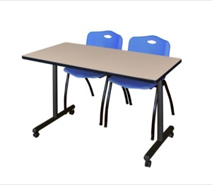 "48"" x 24"" Kobe T-Base Mobile Training Table - Beige & 2 'M' Stack Chairs - Blue"