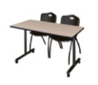 "48"" x 24"" Kobe T-Base Mobile Training Table - Beige & 2 'M' Stack Chairs - Black"