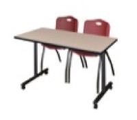"48"" x 24"" Kobe T-Base Mobile Training Table - Beige & 2 'M' Stack Chairs - Burgundy"