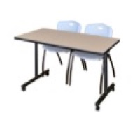 "48"" x 24"" Kobe T-Base Mobile Training Table - Beige & 2 'M' Stack Chairs - Grey"