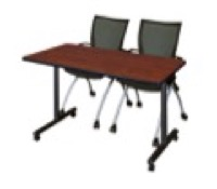 "48"" x 24"" Kobe T-Base Mobile Training Table - Cherry & 2 Apprentice Chairs - Black"