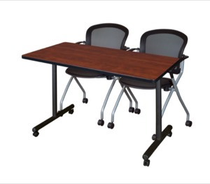 "48"" x 24"" Kobe T-Base Mobile Training Table - Cherry & 2 Cadence Chairs - Black"
