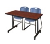 "48"" x 24"" Kobe T-Base Mobile Training Table - Cherry & 2 Zeng Stack Chairs - Blue"