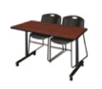 "48"" x 24"" Kobe T-Base Mobile Training Table - Cherry & 2 Zeng Stack Chairs - Black"