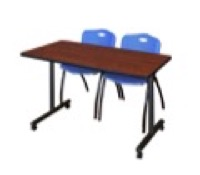 "48"" x 24"" Kobe T-Base Mobile Training Table - Cherry & 2 'M' Stack Chairs - Blue"