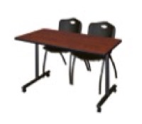 "48"" x 24"" Kobe T-Base Mobile Training Table - Cherry & 2 'M' Stack Chairs - Black"