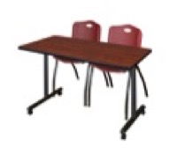 "48"" x 24"" Kobe T-Base Mobile Training Table - Cherry & 2 'M' Stack Chairs - Burgundy"