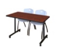 "48"" x 24"" Kobe T-Base Mobile Training Table - Cherry & 2 'M' Stack Chairs - Grey"