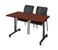 "48"" x 24"" Kobe T-Base Mobile Training Table - Cherry & 2 Mario Stack Chairs - Black"