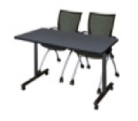 "48"" x 24"" Kobe T-Base Mobile Training Table - Grey & 2 Apprentice Chairs - Black"