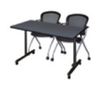 "48"" x 24"" Kobe T-Base Mobile Training Table - Grey & 2 Cadence Chairs - Black"